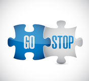 go and stop puzzle pieces sign illustration Royalty Free Stock Images