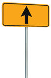 Go straight ahead route road sign, yellow isolated roadside traffic signage, this way only direction pointer perspective, black Royalty Free Stock Images
