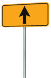 Go straight ahead route road sign, yellow isolated roadside traffic signage, this way only direction pointer perspective Stock Images