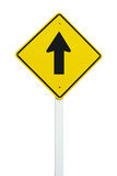 Go straight direction traffic sign isolated. On white background royalty free stock photography