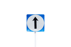 Go straight direction traffic sign isolated on white background, Stock Photography