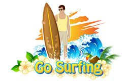 Go Surfing. Illustration of man standing with surf board for go surfing campaign Stock Photos