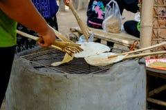 Goût doux de casse-croûte de biscuit de cerf-volant de la Thaïlande Cuit en grillant, Photo stock