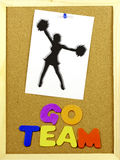 Go Team phrase on a corkboard Royalty Free Stock Photo