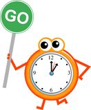 Go time. Mr clock man holding a road sign with the message GO Royalty Free Stock Images