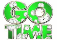 Go Time Start Begin Clocks Words Royalty Free Stock Images