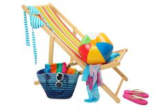 Go to the beach. Deckchair and accessories isolated on white background Royalty Free Stock Photos