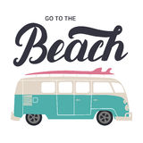 Go to the beach hand lettering with surf bus. Royalty Free Stock Image