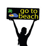 Go to beach illustration with girl silhouette Stock Image