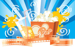 We go to cinema!. Background with popcorn, a glass of juice and a film for a card Royalty Free Stock Image