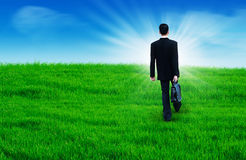 Go to future ahead. Businessman walks with suitcase in the field go to future ahead Stock Image