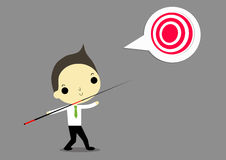 Go to goal. Businessman with wooden javelin want to catch target that is he goal Royalty Free Stock Images