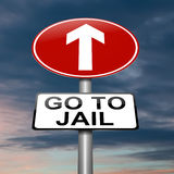 Go to jail concept. Illustration depicting a sign with a jail concept Stock Photography