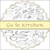Go to kitchen. Food and crockery, doodle eps 8 Stock Photos