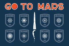 Go to Mars vector badges set Royalty Free Stock Photography