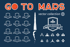 Go to Mars vector badges set Stock Image