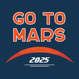 Go to Mars vector cartoon poster. Cartoon poster of Mars planet and Go to Mars typography. Vector background for Mars mission, exploration, promo events, games Royalty Free Stock Images