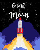 Go to the moon poster royalty free illustration