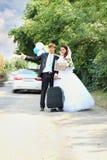 Go to Paris hitchhiking Stock Photo