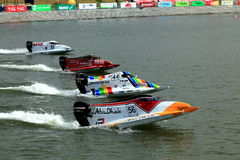 Go to practice. 4 powerboats were started almost together in the second free practice at GP of China Stock Image
