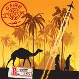 Go to sahara. Sahara, camel, palm, stamp, flight and arabian lifestyle illustration Royalty Free Stock Images