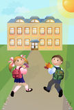 Go to school. Cheerful pupils to go in school on road. Vector illustration a congratulation on day of knowledge. Celebratory picture for cards, congratulations Royalty Free Stock Photo