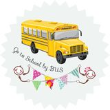 Go to school by bus. Sticker stock images