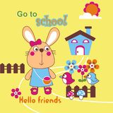Go to school. Illustration for children clothes for wallpaper Royalty Free Stock Photos