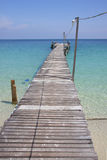 Go to the sea. Wooden pier on samet island in eastern of Thailand stock images