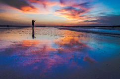 Go to shot selfie on the beach. Royalty Free Stock Photography