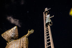 We go to the stars. Long exposure shot of a sculpture against stary night in Puerto Vallarta Royalty Free Stock Photos