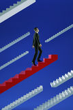 Go to success. Businessman climbs a red flying stairs. Royalty Free Stock Photos