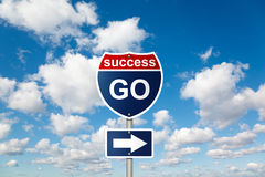 GO to SUCCESS sign on clouds in sky royalty free stock images