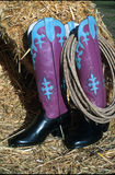 Go to town boots!. Hand made cowboy black and purple , blue western boots. With lariat rope royalty free stock photography