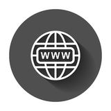 Go to web icon. Internet flat vector illustration for website with long shadow Stock Photos
