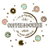 We go togerther like coffee and donuts which are made with love. Stock Photography