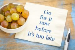 Go for it before it is too late. Handwriting on a napkin with fresh grapes Royalty Free Stock Photography