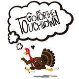 Go for the touchdown cartoon turkey Royalty Free Stock Photo