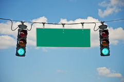 Go Traffic Lights With Blank Sign Stock Images