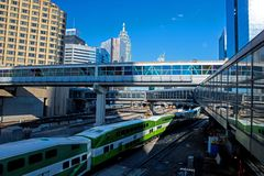Go Train Arriving At Union Station In Downtown Toronto, Ontario, Canada stock images