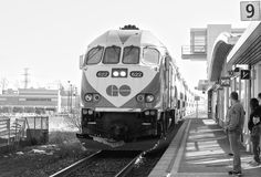 Go Train Black and White Photo Stock Photography