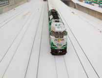 GO Train in the snow Royalty Free Stock Photos
