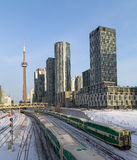GO Trains in downtown Toronto during the winter Royalty Free Stock Photos