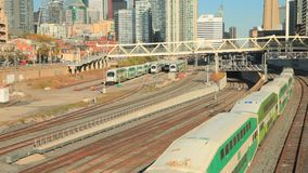 Go Transit train in Toronto, Canada. Toronto, Canada - Oct 20, 2017: Bombardier BiLevel Coach Go Transit train in the city of Toronto. Province of Ontario stock video