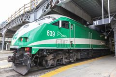 Go Transit train in Toronto, Canada royalty free stock photo