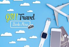 Go travel Book now travel objects travel concept Stock Photography