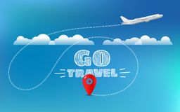 Go travel concept. Travel banner with aircraft. And destination pin vector illustration