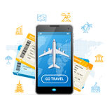 Go Travel Mobile Ticket Booking Concept. Vector. Go Travel Booking Concept with a Passenger Plane Mobile Ticket for Web and App. Vector illustration royalty free illustration