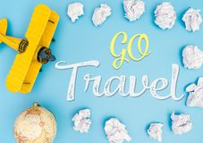 Go Travel with toy plane and sky for travel concept Stock Photography