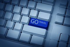 Go Travel Typing On Keyboard Royalty Free Stock Photos